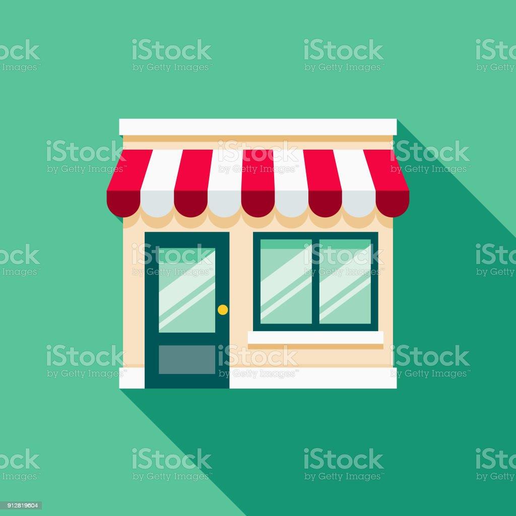 Storefront Flat Design E-Commerce Icon vector art illustration