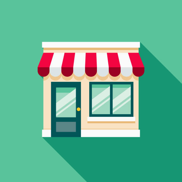 storefront flat design e-commerce icon - store stock illustrations