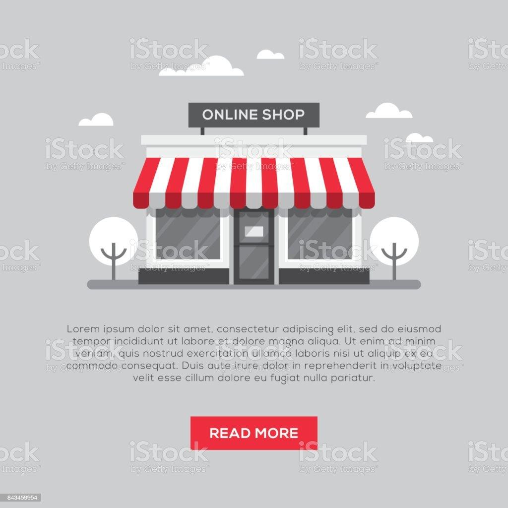 Storefront illustration in flat style vector art illustration