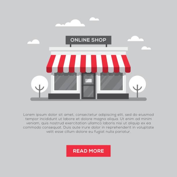 ilustrações de stock, clip art, desenhos animados e ícones de storefront illustration in flat style - store