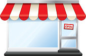 Storefront vector illustration. Includes transparent PNG, and a version without the sign.