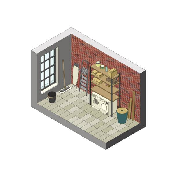 storeroom in isometric view. - basement stock illustrations