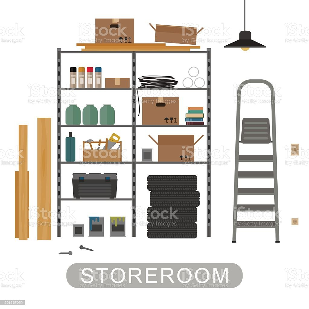 Storeroom interior on white background. vector art illustration