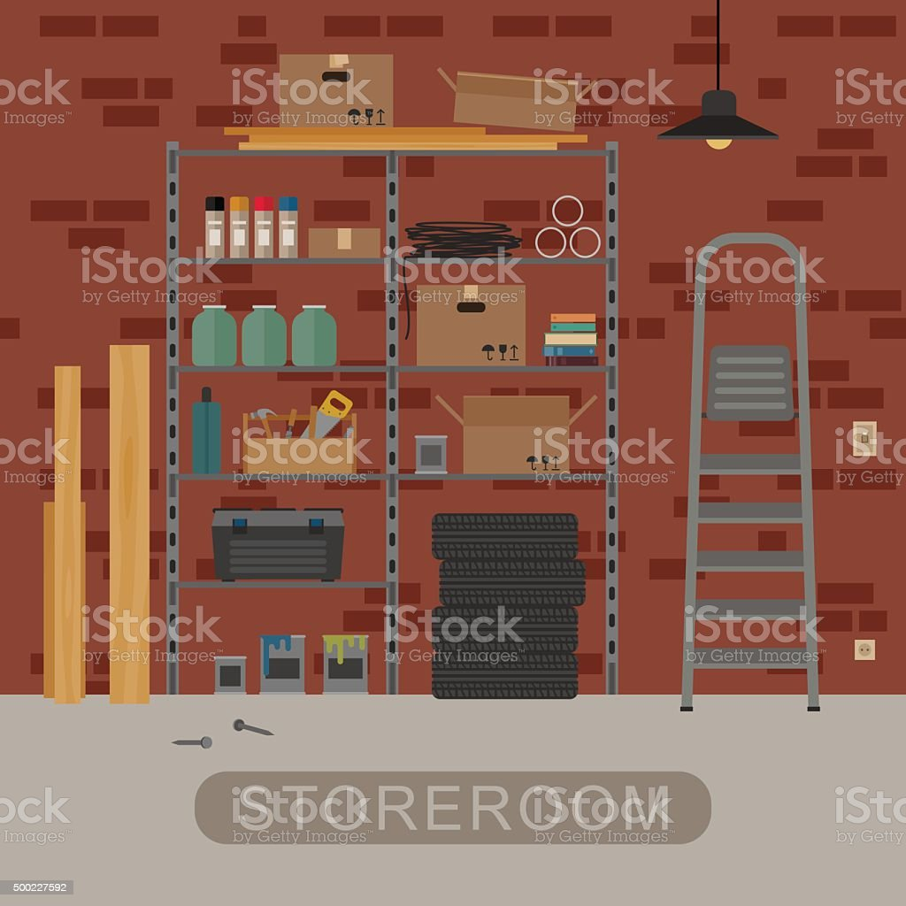 Storeroom interior with brickwall. vector art illustration