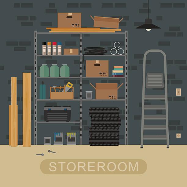 stockillustraties, clipart, cartoons en iconen met storeroom interior with brickwall. - opslagruimte