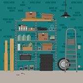 Garage interior with metal storage. Vector banner of garage or storeroom in flat style.