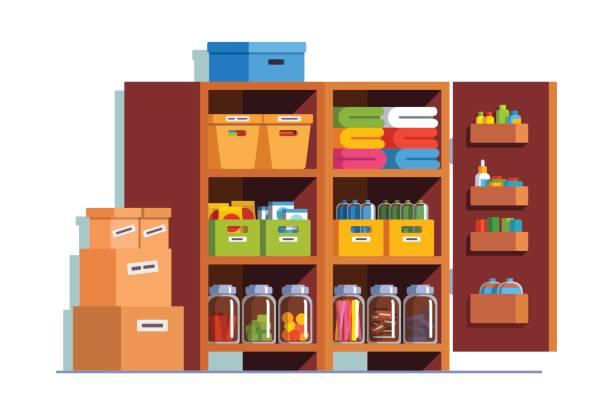 木製の食器棚で倉庫やパントリーのセラー - 家庭料理点のイラスト素材/クリップアート素材/マンガ素材/アイコン素材