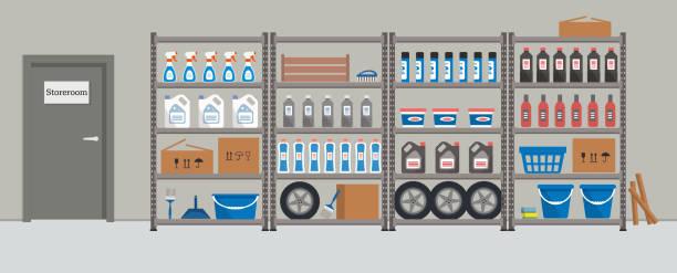illustrazioni stock, clip art, cartoni animati e icone di tendenza di storeroom. shelving with household goods - prodotti supermercato