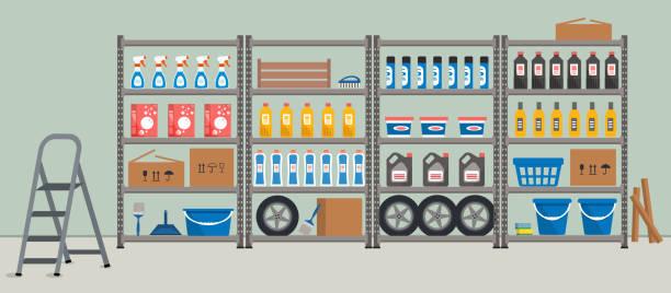 abstellraum. regale mit hausrat. lagerregale - kastenständer stock-grafiken, -clipart, -cartoons und -symbole