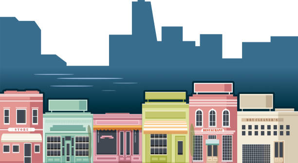 stores and city - small business stock illustrations