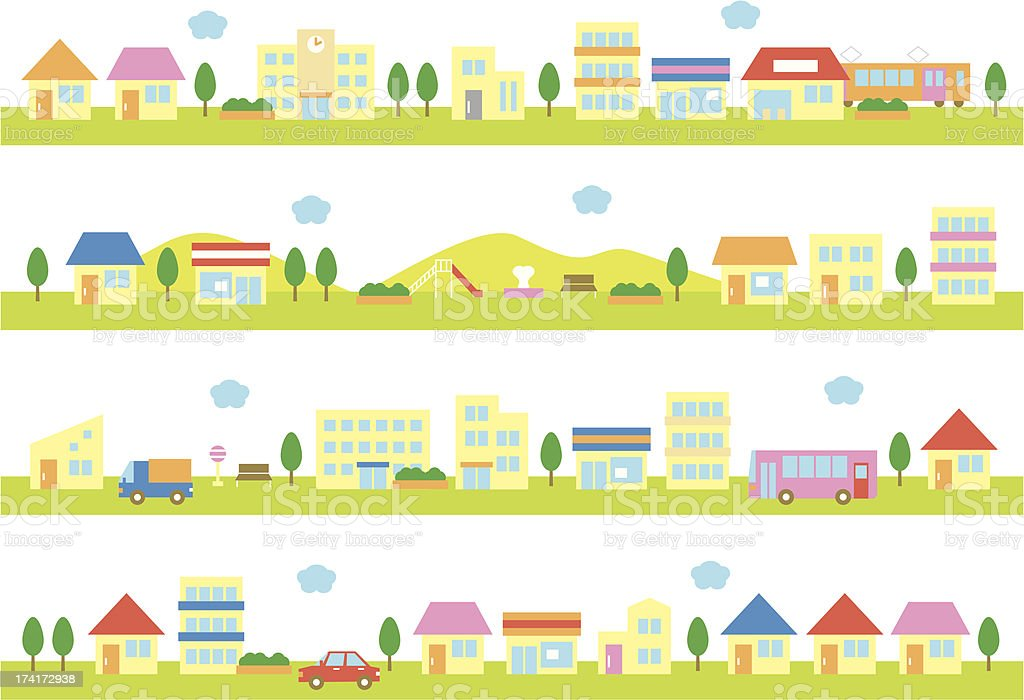 stores and houses on a street, white background vector art illustration