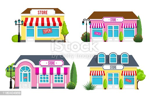 Vector illustration of the stores front view flat design