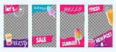 Stories for summer sale, party and vacation. Set of bright templates. Vector illustration.