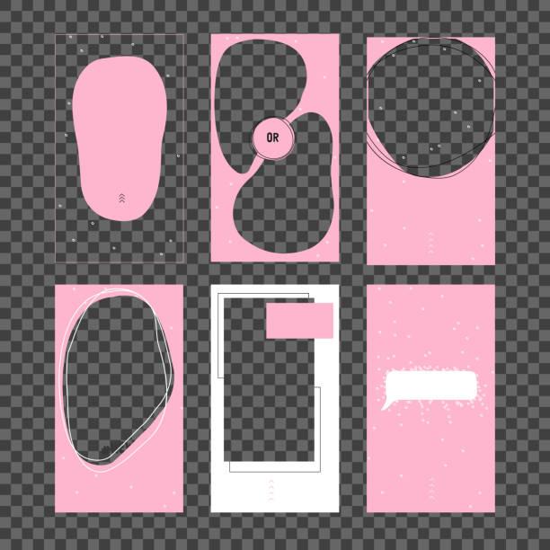 набор шаблонов историй. современный плоский шаблон instagram истории, для блога и продаж, веб-магазинов баннер концепции. минималистичный геоме - instagram stock illustrations