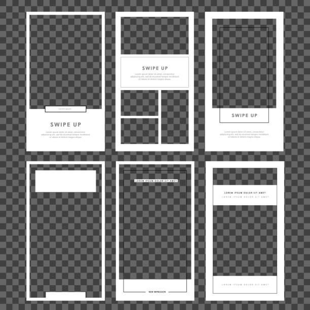 Stories template set. Modern flat stories template, for blog and sales, web online shopping banner concept. Minimalistic geometric trendy sale app screens, ready to use Editable Stories template. Streaming. Mockup for photo isolated on transparent background. Modern flat stories template, for blog and sales, web online shopping banner concept. Minimalistic geometric trendy sale app screens, ready to use. storytelling stock illustrations