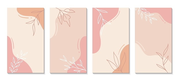 Stories templates for social media. Vector abstract shapes vertical backgrounds. Minimal floral backdrops