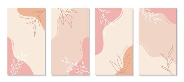 story-vorlagen für soziale medien. vektor abstrakte formen vertikaler hintergründe. minimale florale kulissen - designelement stock-grafiken, -clipart, -cartoons und -symbole