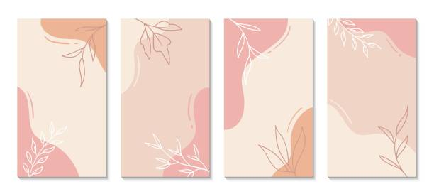 Stories templates for social media. Vector abstract shapes vertical backgrounds. Minimal floral backdrops Stories templates for social media. Vector abstract shapes vertical backgrounds. Minimal floral pastel colors backdrops for text design element stock illustrations