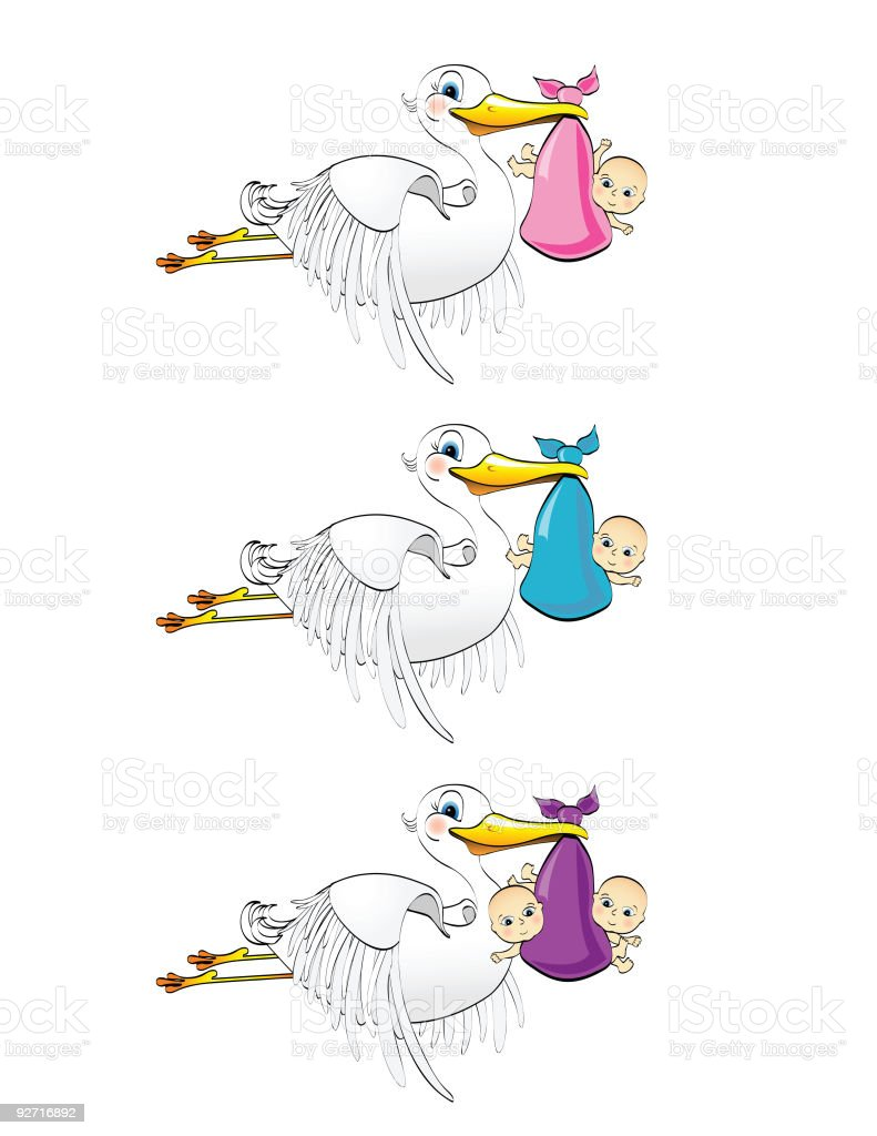 Stork and Babies vector art illustration