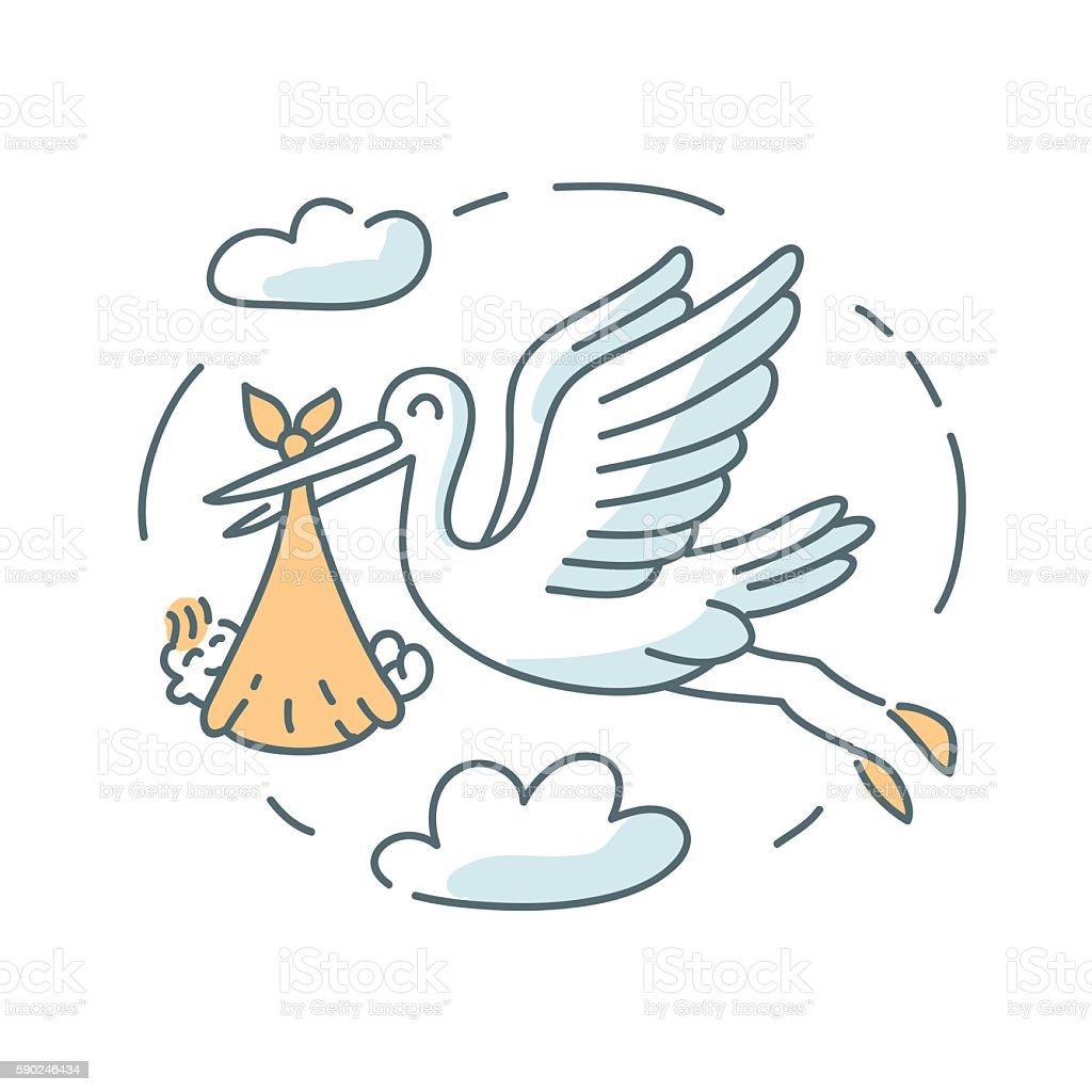 Stork and baby icon illustration vector art illustration