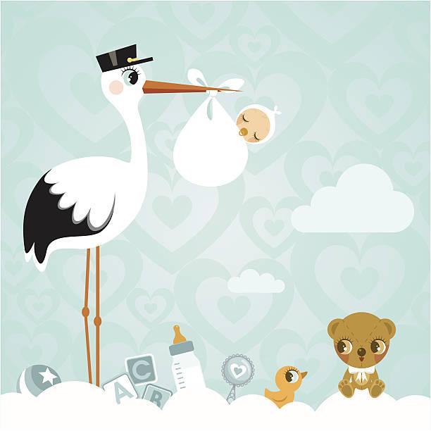 コウとベビーます。新生児 babyshower クラウドかわいいご招待 - 出産点のイラスト素材/クリップアート素材/マンガ素材/アイコン素材