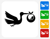 Stork and Newborn Icon Flat Graphic Design