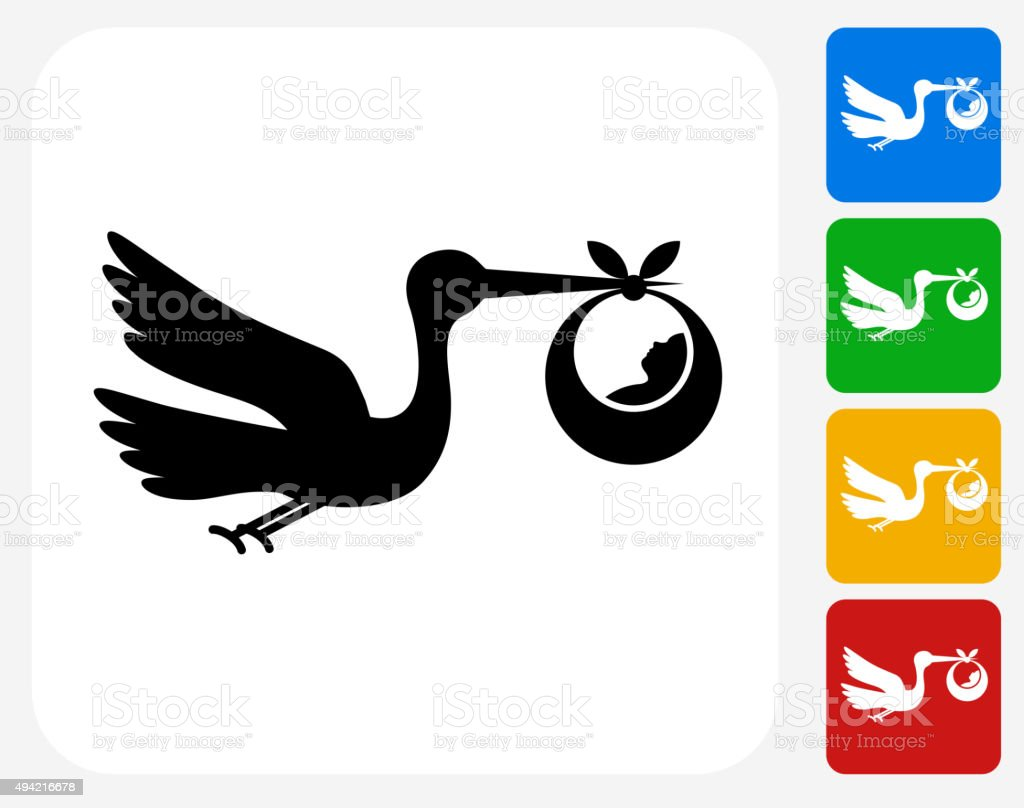 Stork and Newborn Icon Flat Graphic Design vector art illustration