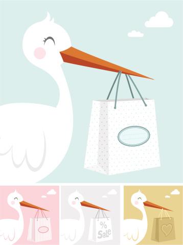 Stork and shopping bag