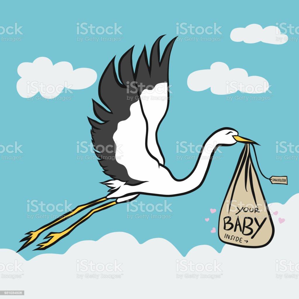 stork bird bring baby cute cartoon vector illustration stock vector
