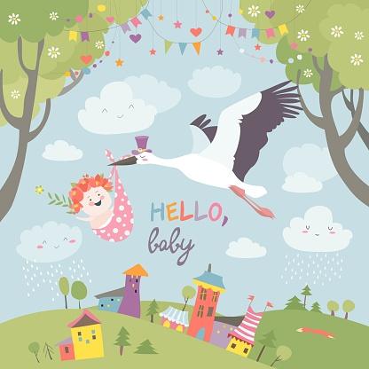 Stork bird with baby