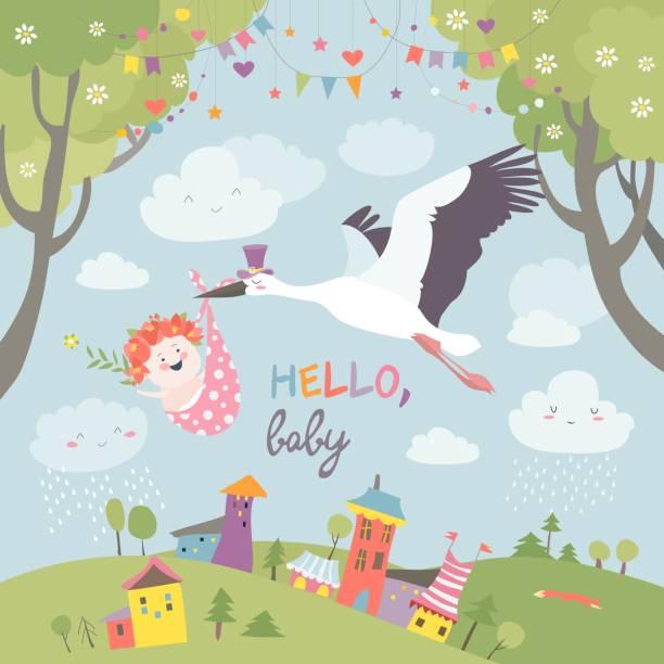ilustrações, clipart, desenhos animados e ícones de cegonha pássaro com o bebê - novo bebê