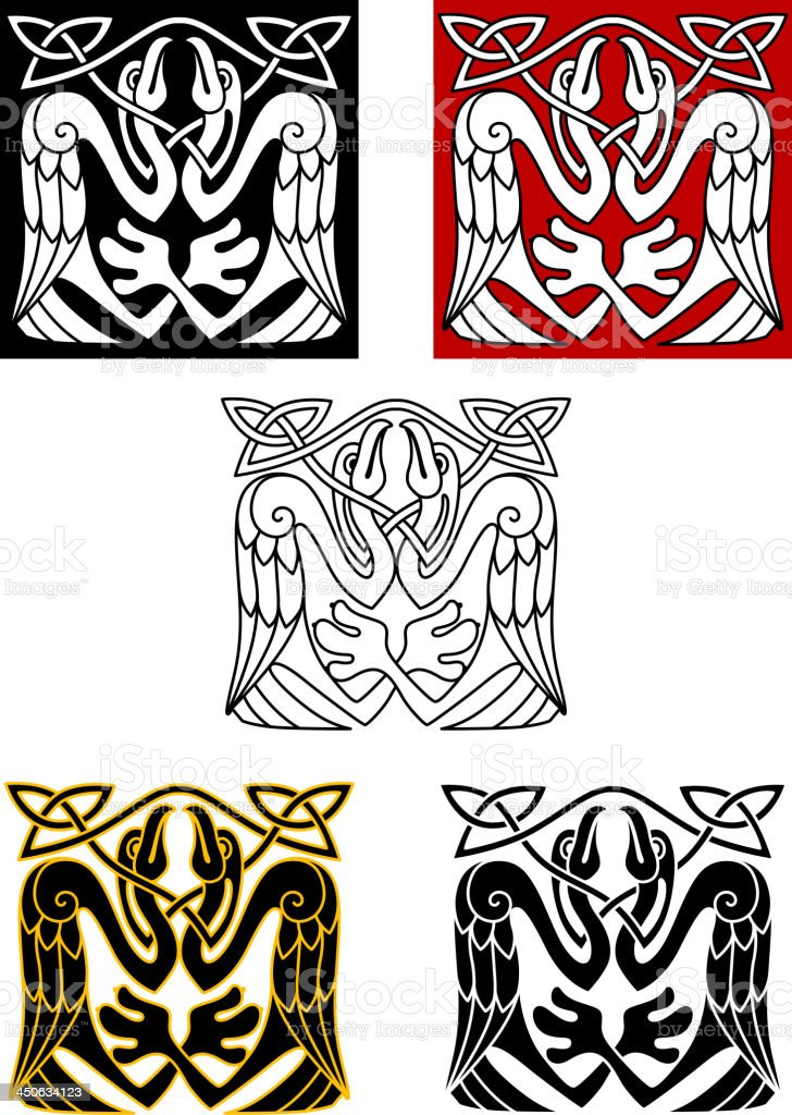 Stork birds in celtic ornament style royalty-free stock vector art