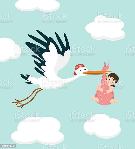 Stork carrying a cute baby girl newborn baby vector illustration vector id535646724?b=1&k=6&m=535646724&s=612x612&h=nediamvbwb6rfiwfzmzkxaum43kohxqucrszmlgosxu=