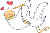 vector of stork carring baby