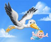 A stork or crane cartoon bird flying through the sky carrying a new born baby as in the pregnancy myth.
