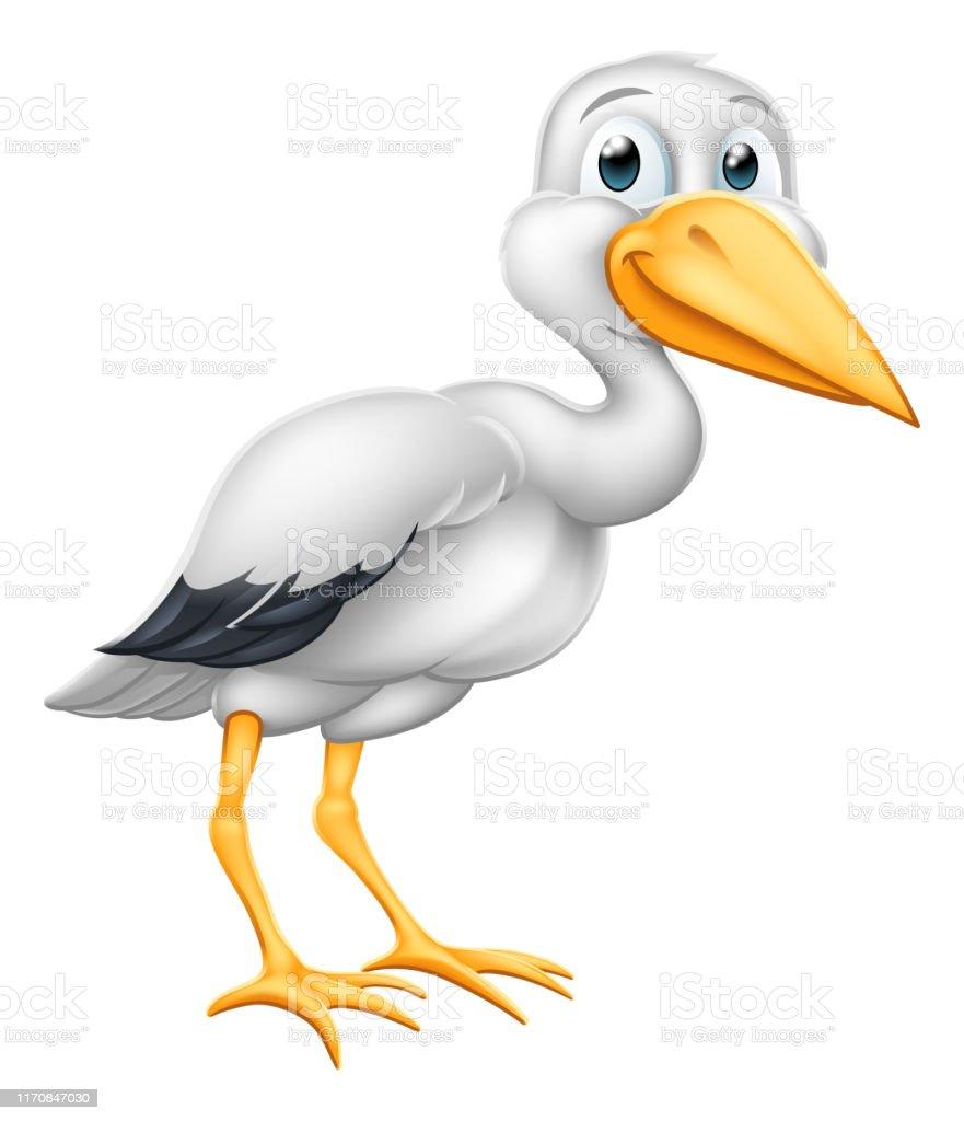 Oiseau De Mythe De Grossesse De Dessin Animé De Cigogne Avec