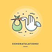 Stork delivering a baby, flat design thin line banner