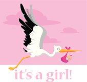 A flying stork delivering a baby girl.