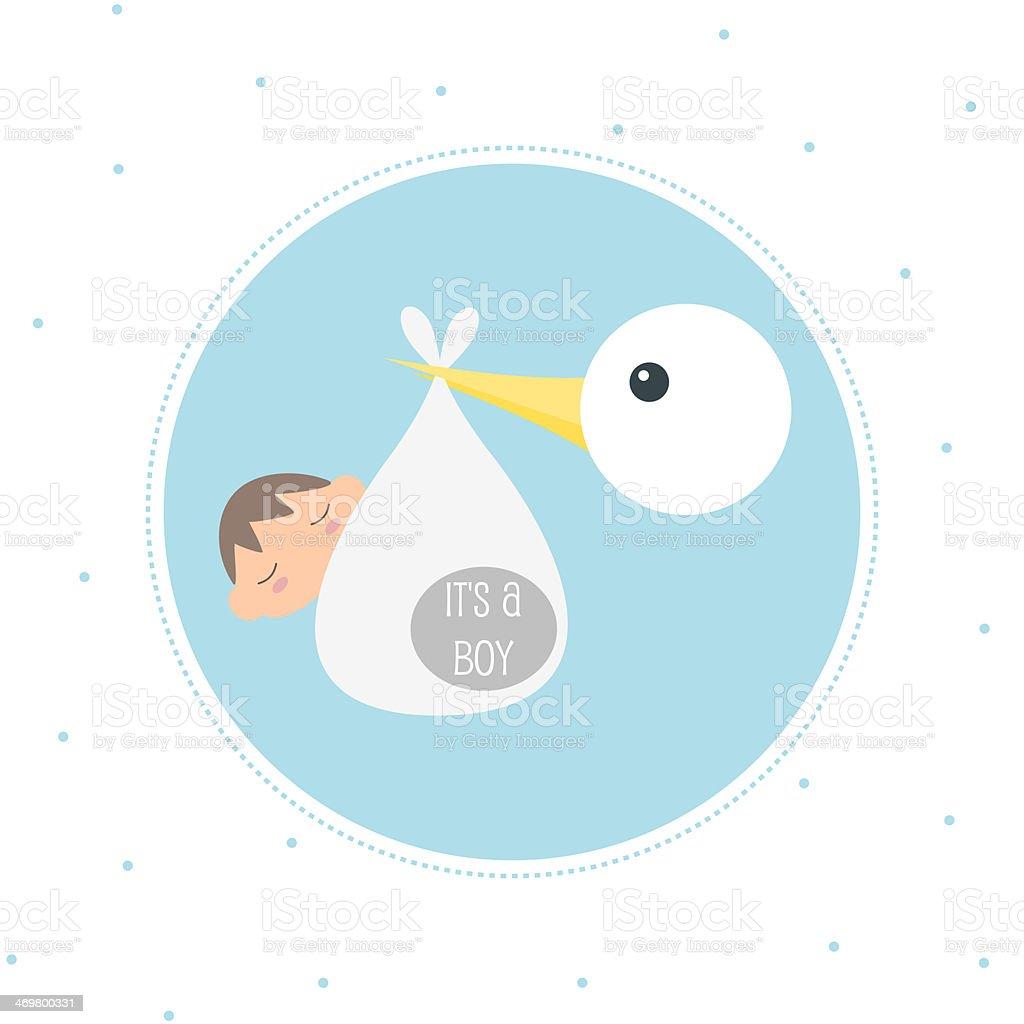 Stork Delivering A Newborn Baby Boy vector art illustration