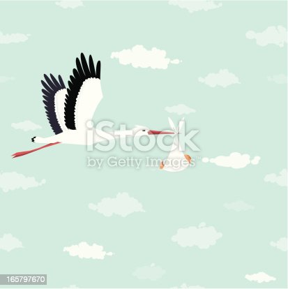 istock Stork delivery 165797670