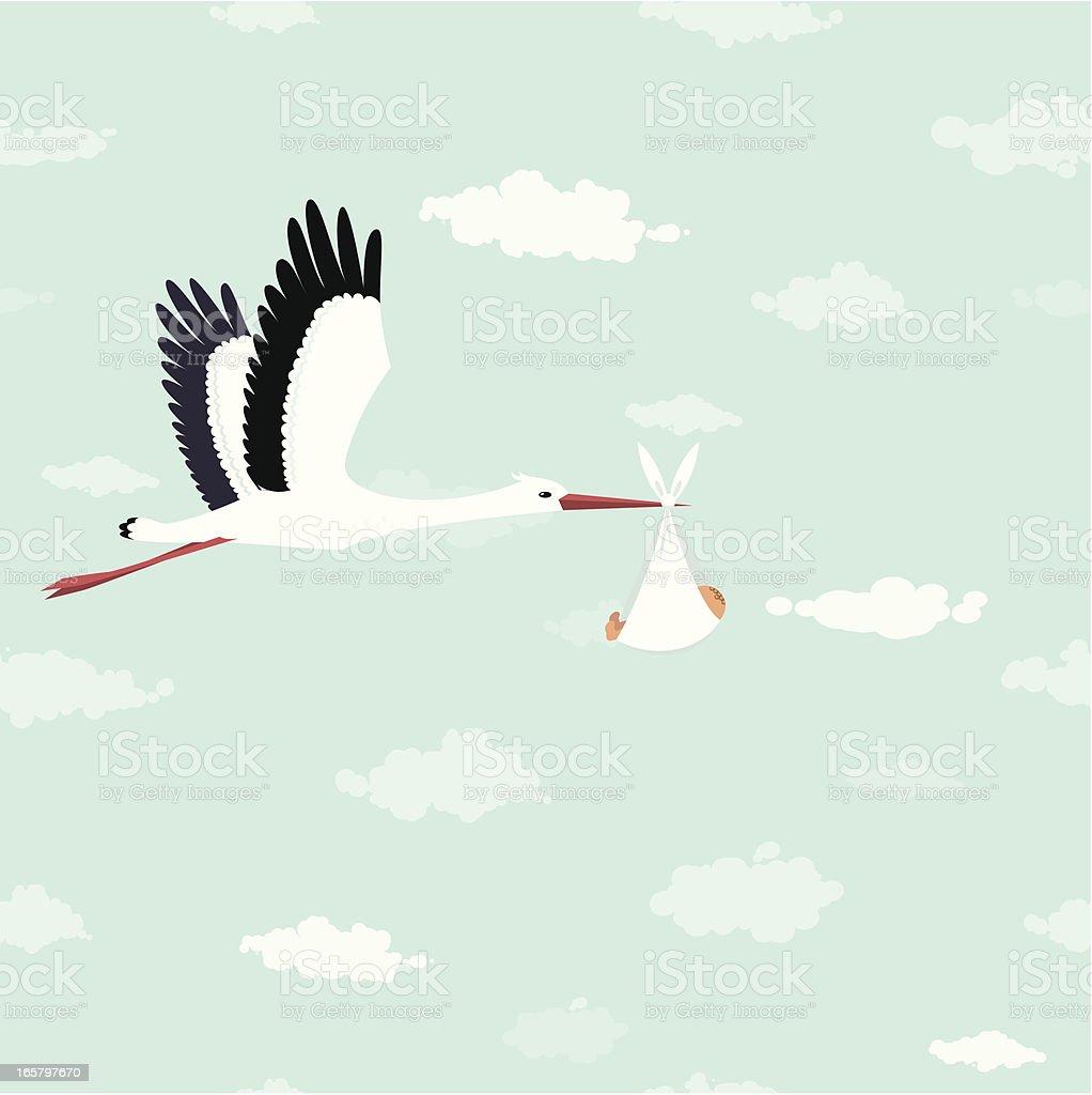 Stork delivery vector art illustration