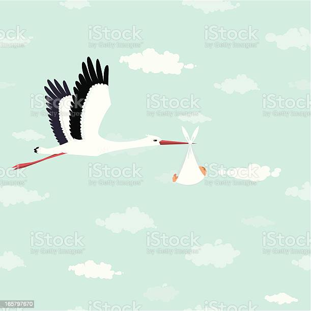 Flying stork delivering a baby. Seamless sky with clouds background.