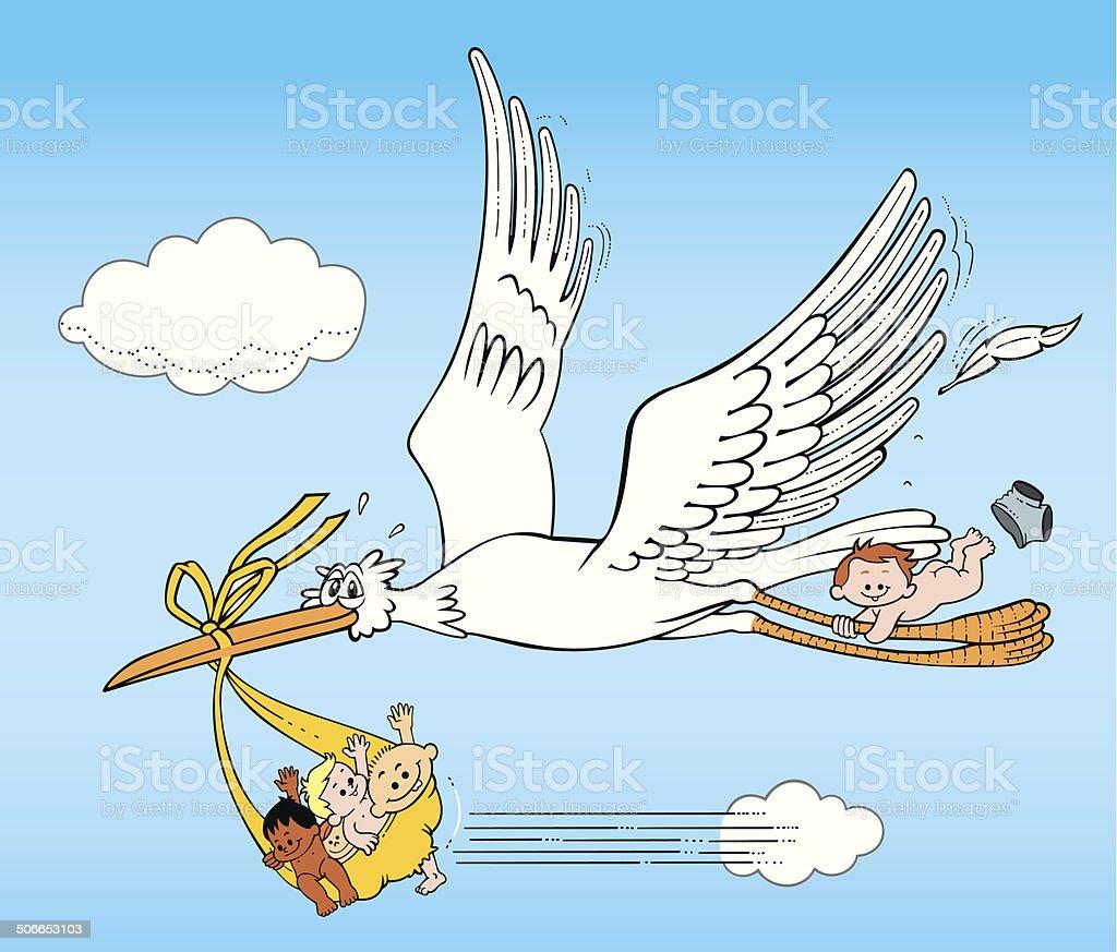 ilustração de cegonha voando oferecer bebê recémnascido e mais banco