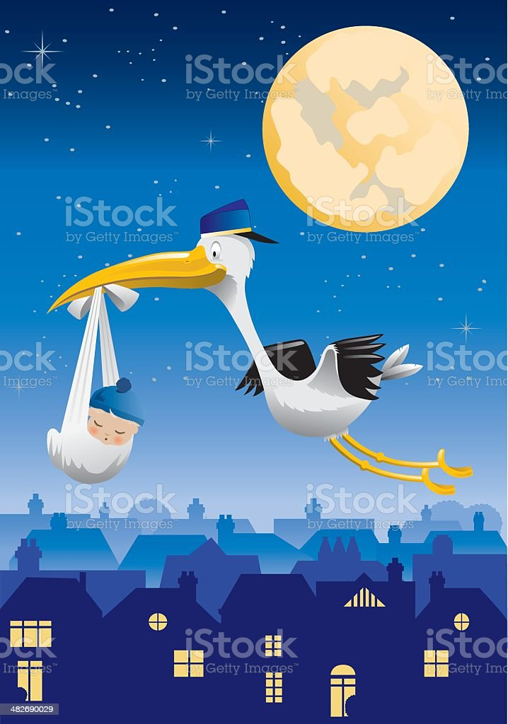 Stork Flying over City with Baby Boy royalty-free stock vector art