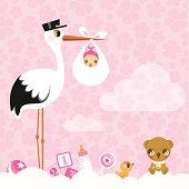 stork for girls. Newborn invitation baby shower pink cute