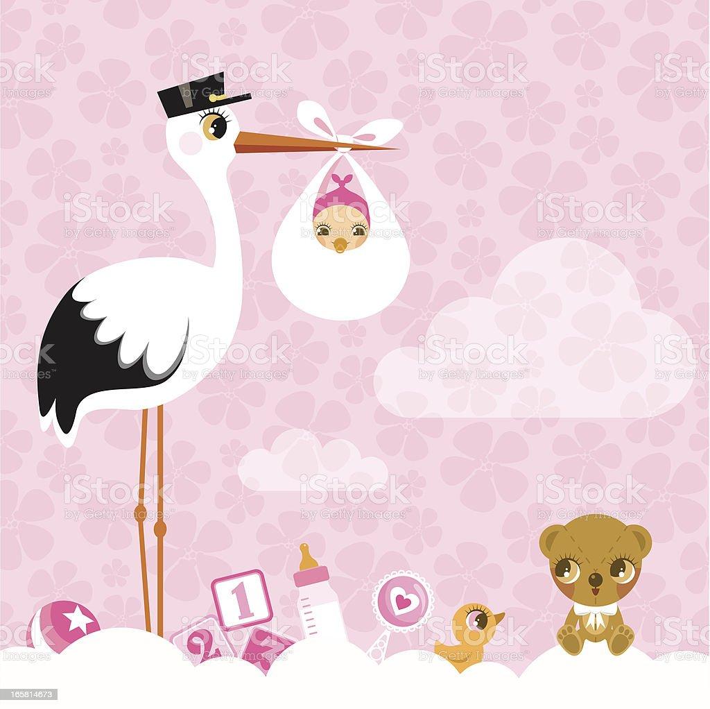 stork for girls. Newborn invitation baby shower pink cute vector art illustration