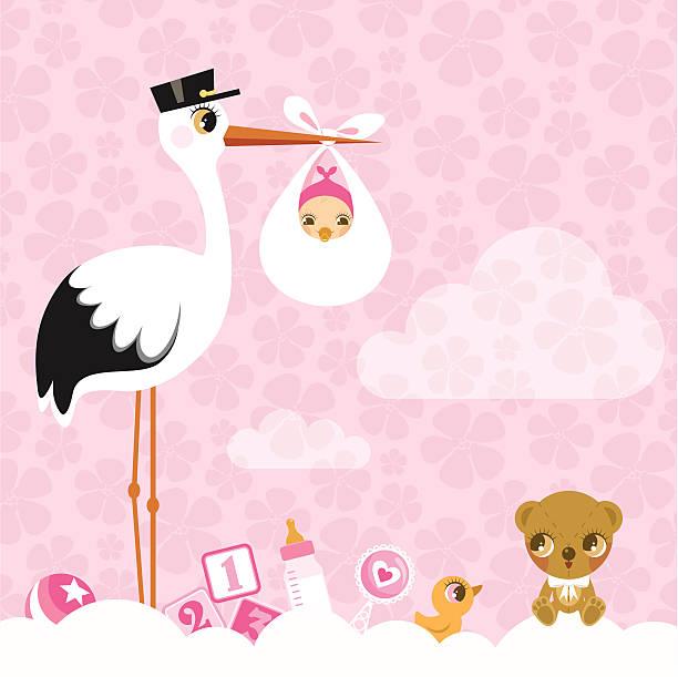 bocian dla dziewczynek. newborn baby prysznic zaproszenia różowy ładny - new born baby stock illustrations