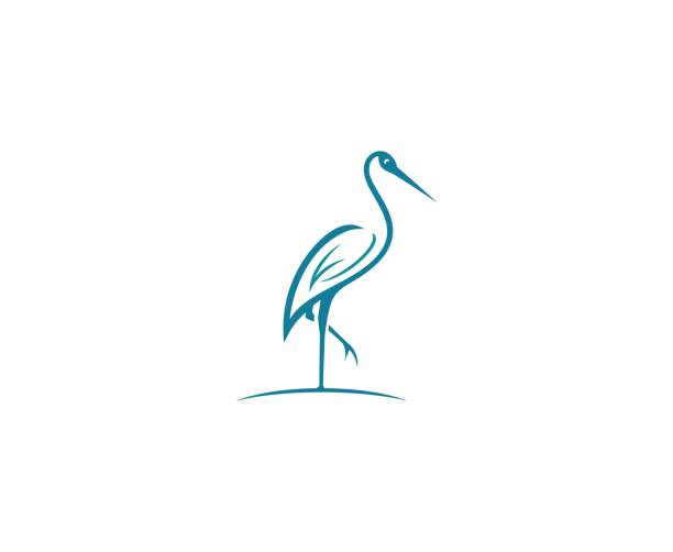 stork icon - crane bird stock illustrations