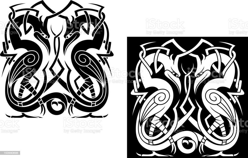Stork in celtic style royalty-free stock vector art