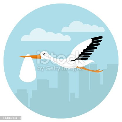A stork in its beak flies with the baby. A stork flies in the clouds with a baby. Vector illustration, vector.